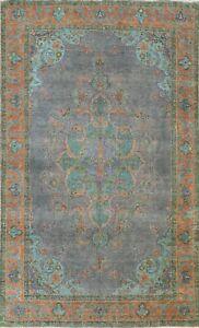 "Antique Geometric Dark Gray 6'x10' Tebriz Distressed Wool Area Rug 9' 9"" x 6' 5"""