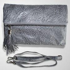Clutch Abendtasche Schultertasche Leder Umhänge Tasche Handtasche Grau 3