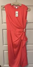 DVF Diane Von Furstenberg ALBA Silk Zip Shoulder Draped Dress Firecracker NWT