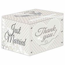 Elegant Heart Just Married THANK YOU Wedding Party Card Receiving Box
