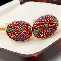 Vintage 1950s Handpainted Mosaic Red Glass - Oval Gold Plated Cufflinks