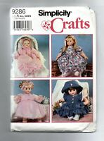 SIMPLICITY CRAFTS DESIGN YOUR OWN DOLL CLOTHS SEWING PATTERN 9286 SIZE A 1994!