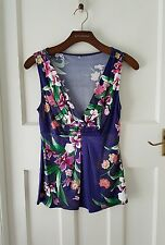 Purple floral sleeveless blouse small size 8/10