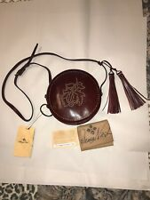 Patricia Nash Leather Scafati Circle Crossbody Studded Floral Burgundy Red NEW