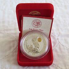 Australia 1997 Dragon Marca de emisión de monarca 1oz $1 .999 plata Kookaburra en Caja/cert. de autenticidad