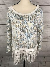 Free People By Anthropologie Multi Color Fringe Sweater Size Medium