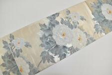 VINTAGE SILK FUKURO OBI BELT:Gorgeous Silver/White Tree Peony@Y20