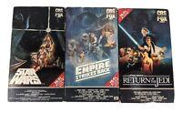 Star Wars Original Trilogy VHS Set CBS Fox Red Label Vintage 1977 1980s VCR Tape