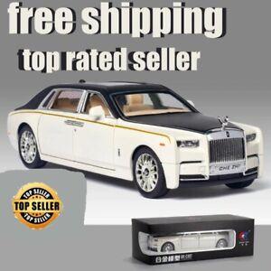 1/24 Alloy Diecast Rolls-royce Phantom Model Toy Car Simulation Sound Light Pull