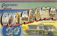 OK Oklahoma VINTAGE - MINT - LLL Large Letter Linen Tichnor Postcard A78