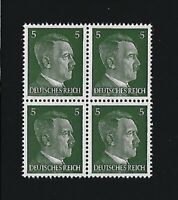 MNH stamp block / Adolph Hitler / PF05 / WWII Germany / 1941 Third Reich issue