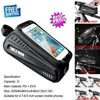 WILD MAN Waterproof MTB Bicycle Phone Touch Screen Bag Bike Frame Top Tube Pouch
