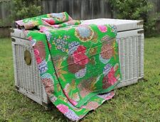 Vintage Hand Made Kantha Bed Spread Throw Quilt King Size * FREE POSTAGE*