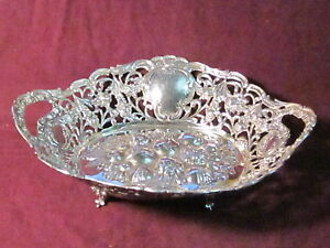 """Vintage Unknown 800 SILVER RETICULATED FOOTED BOWL 10 3/8"""" X 9"""" X 3"""" 340g no mon"""