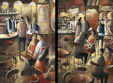 CAFE Y (24x32) and ENTRE COPAS (24x32) SET by DIDIER LOURENCO 2PC CANVAS