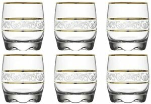 Europe Ware Drinking Glass with Gold Decor Rim & Sturdy Base 6 Set 9.75 Oz Gold