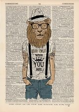 Lion Tattooed Print Dictionary Wall Picture Art Print Vintage Animal Clothes