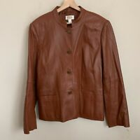 Talbots Womens Jacket Brown Leather Buttons Pockets Lined Size 14