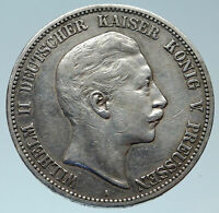 1903 GERMANY GERMAN STATES PRUSSIA WILHELM II Genuine Silver 5 Mark Coin i82932