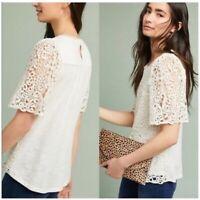 Anthropologie top size large womens Eri + Ali suzy lace ivory blouse shirt L