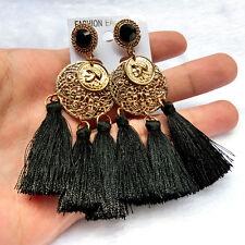 Bohemian Long Crystal Gold Tassel Fringe Drop Dangle Fashion Black Earrings 040