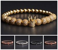 Luxury Men Micro Pave CZ Crown & 8mm Disco Ball Macrame Elastic Bracelet Jewelry