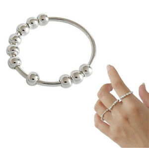 Women Sterling Silver Rotatable Beaded Finger Ring for Anti-Stress Anxiety Ring