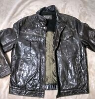 Rover & Lakes Casual Men's Jacket Size 54 Genuine Leather Brown Button up & zip