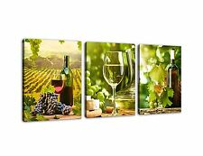 Kitchen Art Canvas Prints Grapes Wine Bottles Pictures for Wall Decor - 3 Pieces