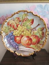 Limoges Coiffe France Hand Painted Charger Plate Fruit Apples Grapes 13.5""