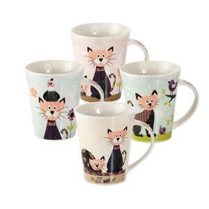 Cat Mugs Cups Set 4 Tea Coffee Cute Cats Theme Design Cat Lover Gift Women Men