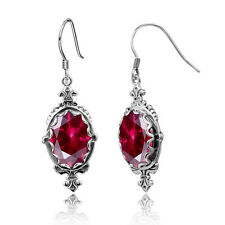 Punk Vintage Silver 925 Hook Earrings  gem Red Ruby Handmade  Birthstone Jewelry