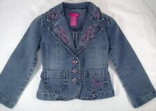 Thalia Sodi Stretch Denim Jean Embroidered Jacket Blazer Bling Girls Size 4/5 G6