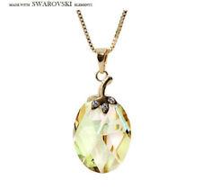 Made With Swarovski Lime Green Oval Cut Crystal Chain Necklace Pendant Jewelry