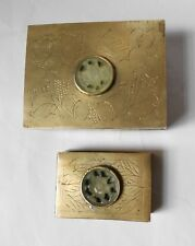 ANTIQUE etched BRASS cigarette box & MATCH HOLDER--SET WITH JADE MEDALLIONS