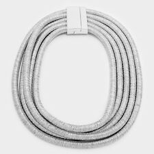 """18"""" silver 5 layer multi row coil choker collar necklace african egyptian bib"""