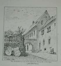Kenzingen Schulhaus Herrschaft Blumeneck Original Ansicht Litho Lederle 1880