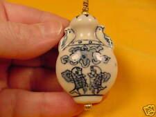 (J511-2)  2 Coy fish CHINESE PORCELAIN white blue PENDANT Jewelry
