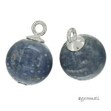 4 Blue Sponge Coral In Sterling Silver Round Drop Charm Beads 10mm #98055