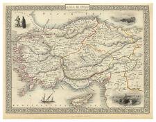 Asia Minor Turkey Anatolia illustrated map John Tallis ca.1851