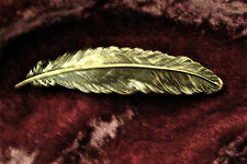 FEATHER ANTIQUED BRASS BARRETTE ~ A BEAUTY!