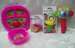 NEW Munchkin 4Pc Lot Squeezers Medicine Dispenser Food Feeders Plate Bowl OWL