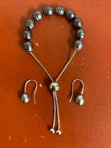 Honora Sterling Silver Cultured Black/Gray Bracelet & Dangle Earrings