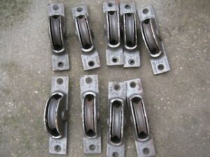 "9 Vintage Cast Iron Kenrick Axle Metal 4.5"" Sash Window Pulley Wheel System"