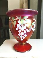 FENTON Ruby Red Iridescent Stretch Glass Vase Signed H Cronin Hand Painted