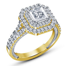 Cut Diamond Ladies Solitaire Engagement Ring 14K Yellow Gold Over 2 Ct Princess