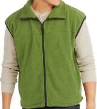 Mens fleece vest L LARGE green full zip mock neck sleeveless winter warm jacket