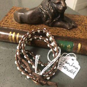 Chan Luu Dark Brown Leather White Agate Copper Bead Wrap Bracelet