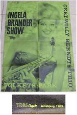 1963 INGELA BRANDER MUSICIAN SHOW SWEDEN POSTER JAZZ