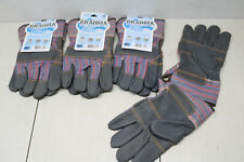 Lot Of 4x Pair Large Premium Leather Palm Work Fence Brahma Gloves Gray